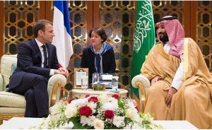 French President Emmanuel Macron with Saudi Crown Prince Mohammed bin Salman in Riyadh. Photo Credit: SPA