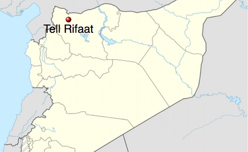 Location of Tell Rifaat in Syria. Source: Wikipedia Commons.