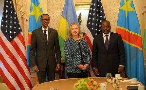 U.S. Secretary of State Hillary Rodham Clinton meets with Congolese President Joseph Kabila and Rwandan President Paul Kagame in New York, New York on September 24, 2012. State Department photo, Wikimedia Commons.