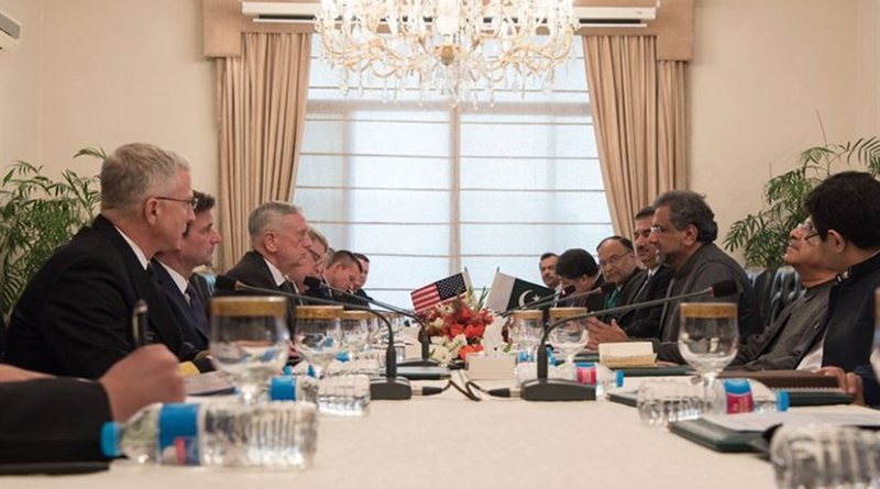 Defense Secretary James N. Mattis meets with Pakistani Prime Minister Shahid Khaqan Abbasi during a visit to Islamabad, Dec. 4, 2017. Mattis is traveling to Egypt, Jordan, Pakistan and Kuwait to reaffirm the enduring U.S. commitment to partnerships in the Middle East, West Africa and South Asia. DoD photo by Army Sgt. Amber I. Smith