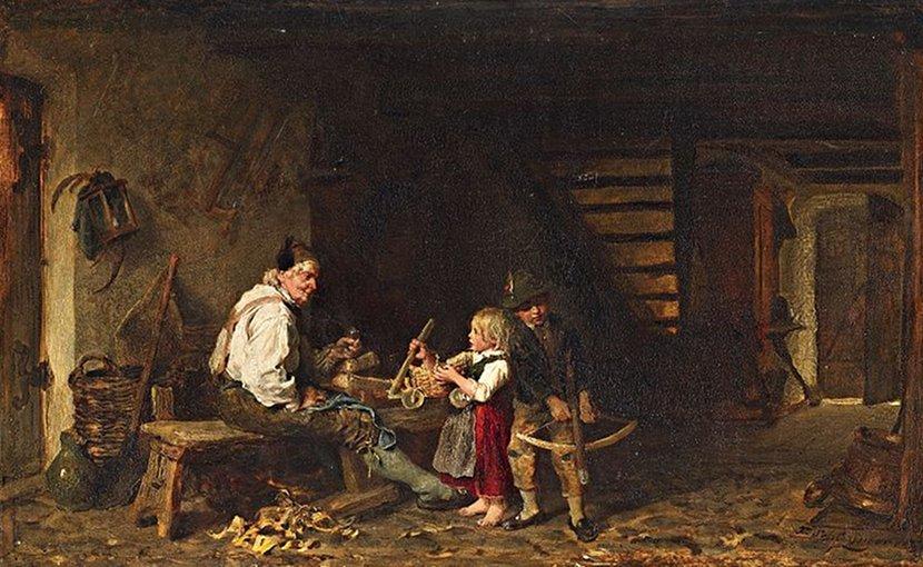 """Felix Schlesinger's """"In der Werkstatt des Schreiners"""" (In the Carpenter's Workshop). Source: Wikipedia Commons."""