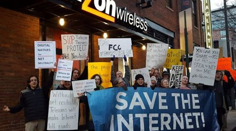 Net Neutrality protest in Baltimore. One of more than 700 held on December 7, 2017 the Internet day of action. Photo via popularresistance.org.