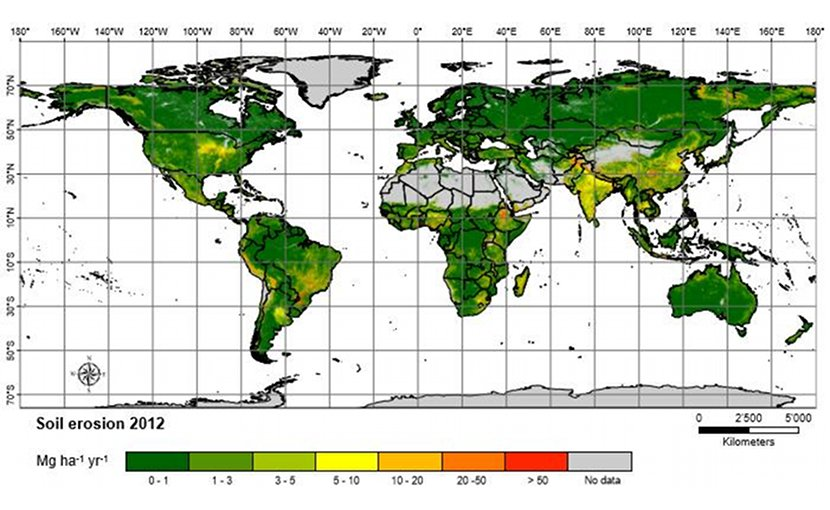 The spatial pattern of soil erosion in 2012. Areas classified as having very low, and low erosion rates represent almost 85 percent of the study area. About 7.5 million km2 in total (6.1 percent of the land), exceeds the generic tolerable soil erosion threshold Credit European Union, University of Basel