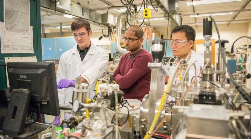 "From left, Purdue University doctoral student Derek Schwanz, professor Shriram Ramanathan and postdoctoral research associate Zhen Zhang, have led work to develop a sensor that mimics a shark's ""sixth sense."" Credit: Purdue University image/Marshall Farthing"