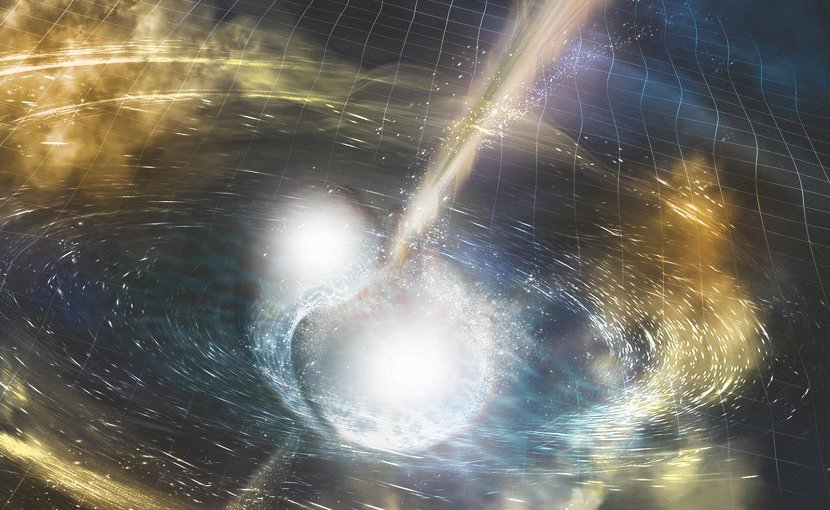Artist's illustration of two merging neutron stars. The rippling space-time grid represents gravitational waves that travel out from the collision, while the narrow beams show the bursts of gamma rays that are shot out just seconds after the gravitational waves. Swirling clouds of material ejected from the merging stars are also depicted. The clouds glow with visible and other wavelengths of light. Credit NSF/LIGO/Sonoma State University/A. Simonnet