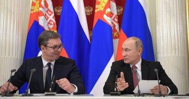 Serbia's President Aleksandar Vucic with Russia's President Vladimir Putin. Source: Kremlin.ru