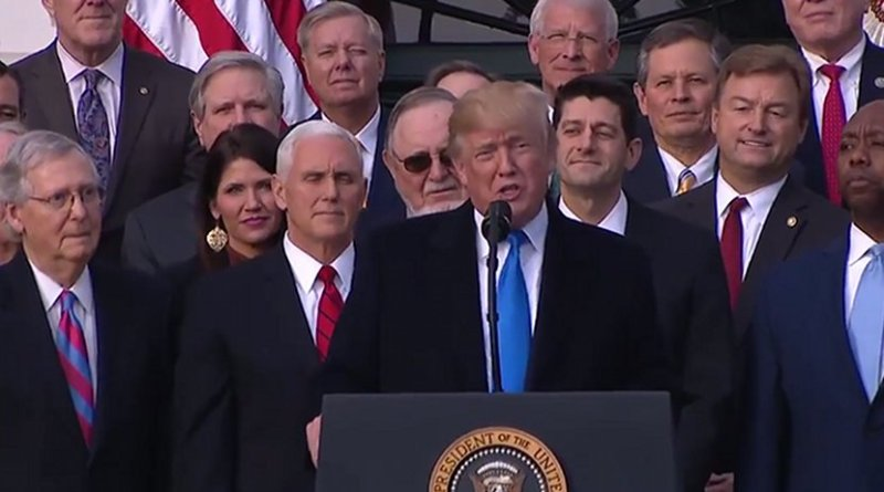 US President Donald Trump and Republicans celebrate passage of tax reform. Photo Credit: White House video screenshot.