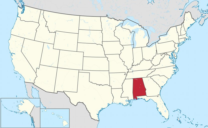 Location of Alabama in the United States. Source: Wikipedia Commons.