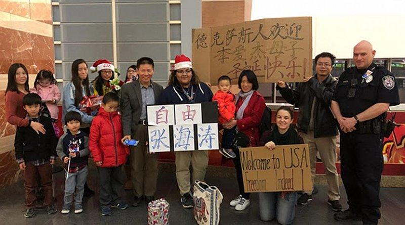 Li Aijie and her son Li Mutian arrived at Midland, Texas. Photo Credit: ChinaAid.