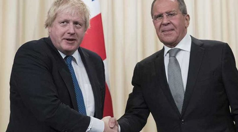 UK's Boris Johnson and Russia's Sergey Lavrov.