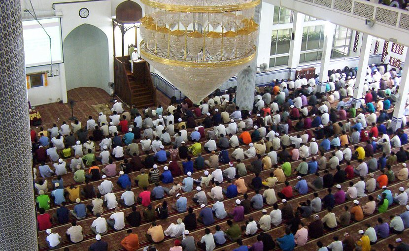 Muslims participating in Friday Prayers at a university in Malaysia. Source: Wikipedia Commons.