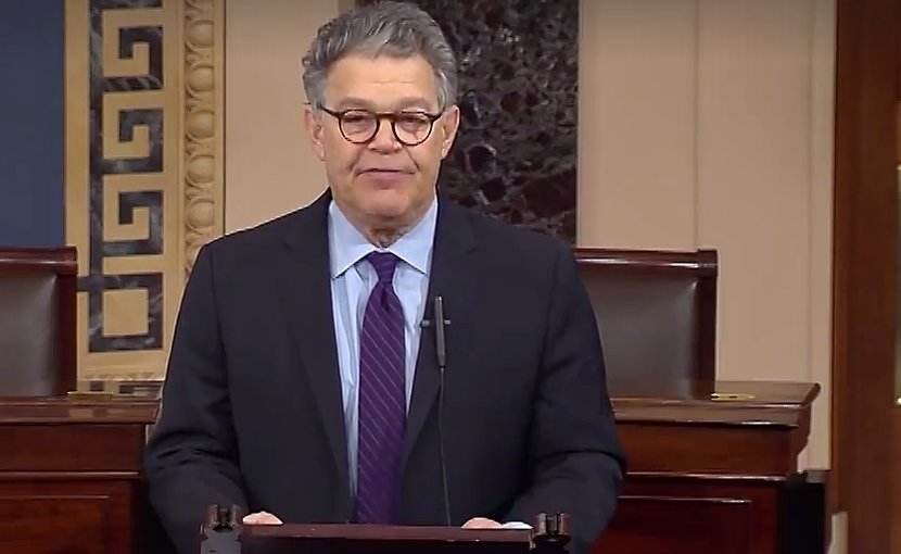 US Senator Al Franken announcing resignation. Photo Credit: Screenshot from Office of Sen .Al Franken video.