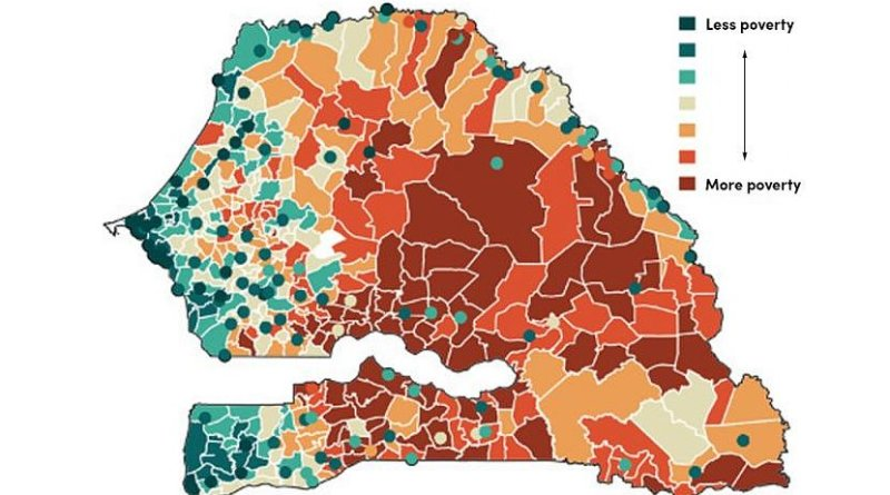 This image depicts a poverty map (552 communities) of Senegal generated using the researchers' computational tools. Credit University at Buffalo