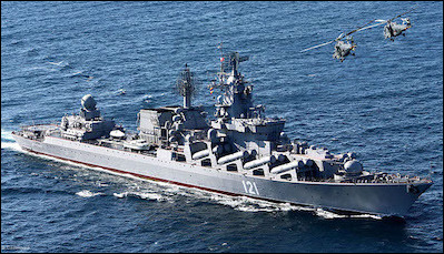To preempt a U.S. response following a chemical attack in Ghouta by the Assad regime, Putin sent a Moskva missile cruiser, a Baltic Fleet destroyer, and a Black Sea Fleet frigate into the eastern Mediterranean.
