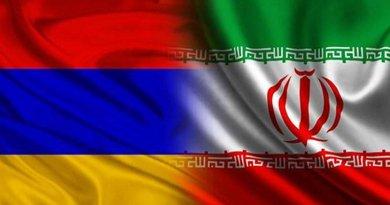 Flags of Azerbaijan and Iran.