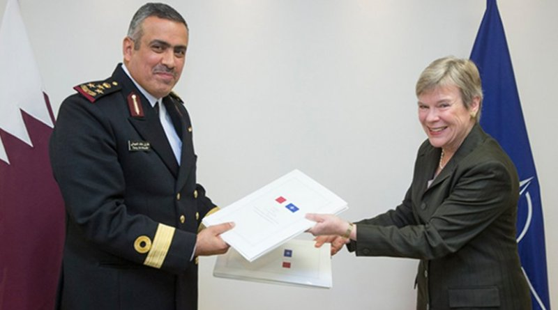 Brigadier General Tariq Khalid M. F. Alobaidli, Head of the International Military Cooperation Department, Armed Forces of the State of Qatar, and NATO Deputy Secretary General Rose Gottemoeller. Photo Credit: NATO