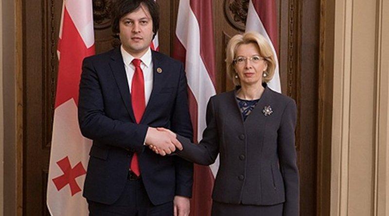 Georgia's Irakli Kobakhidze and Latvia's Ināra Mūrniece. Photo: saeima.lv