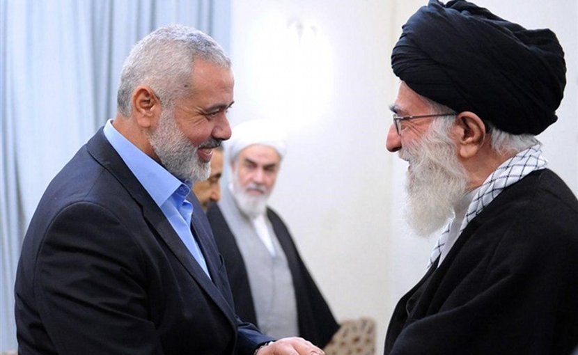 Chairman of Hamas Political Bureau Ismail Haniyeh and Iran's Ayatollah Seyed Ali Khamenei. Photo Credit: Tasnim News Agency.