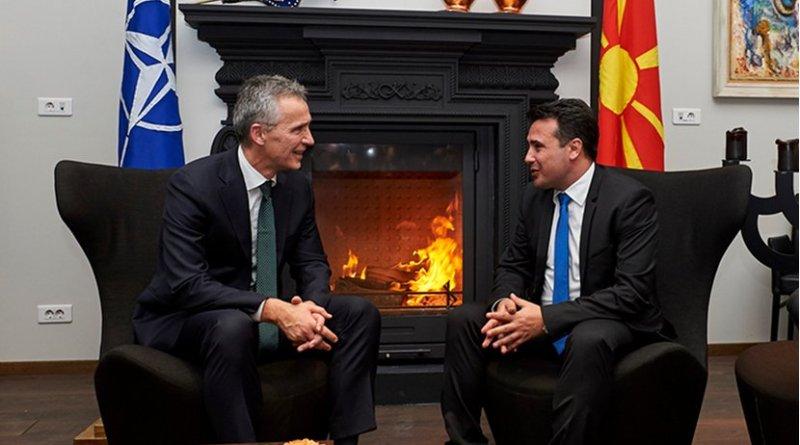 NATO Secretary General Jens Stoltenberg meets with Macedonia's Prime Minister Zoran Zaev. Photo Credit: NATO