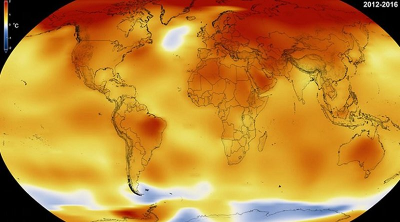 2016 is officially the new warmest year on record, edging out previous record holder 2015 by 0.07°F, according to the National Oceanic and Atmospheric Administration. 2016 was the third year in a row that global average surface temperature set a new record. Credit NASA