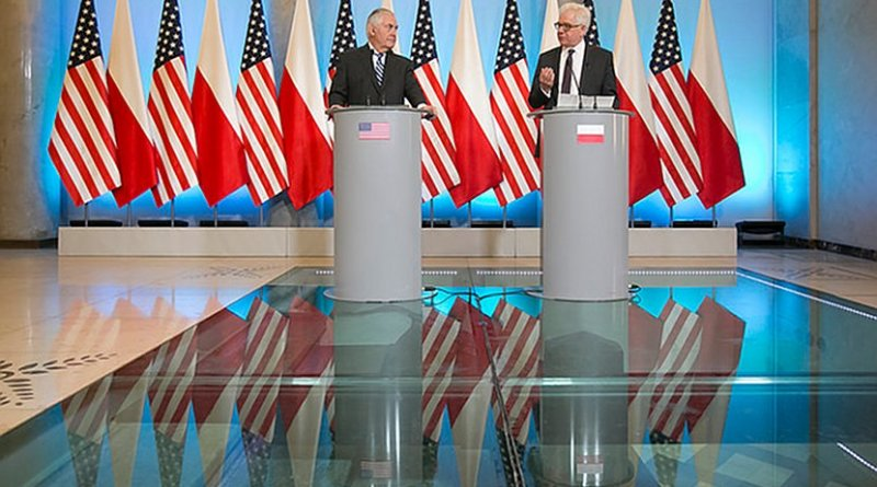 U.S. Secretary of State Rex Tillerson and Polish Foreign Minister Jack Czaputowicz provide remarks during a joint press conference in Warsaw, Poland on January 27, 2018. [State Department photo/ Public Domain]