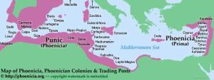 Map of the Phoenician trading posts (12th century BC)