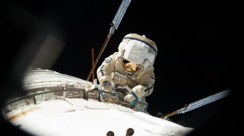 Clad in a Russian Orlan spacesuit, cosmonaut Alexander Misurkin conducts a spacewalk outside the International Space Station Aug. 22, 2013, during Expedition 36. On Friday, Feb. 2, 2018, Misurkin will participate in the fourth spacewalk of his career. Credits: NASA