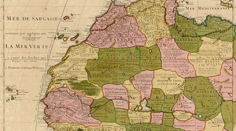 1707 map of northwest Africa by Guillaume Delisle, including the Maghreb. Source: Wikipedia Commons.