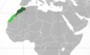 Location of Morocco. Internationally recognized territory of Morocco. Lighter green: Western Sahara, a territory claimed and mostly controlled by Morocco as its Southern Provinces. Source: Wikipedia Commons.