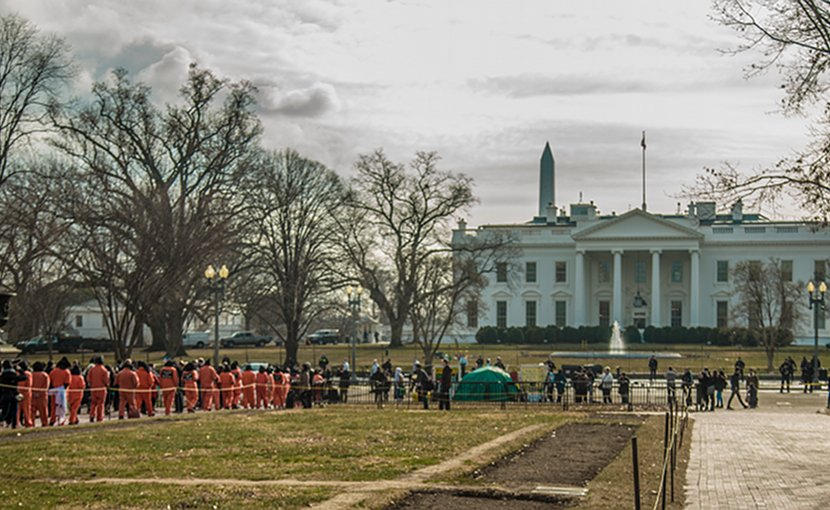 WAT protestors approach the White House