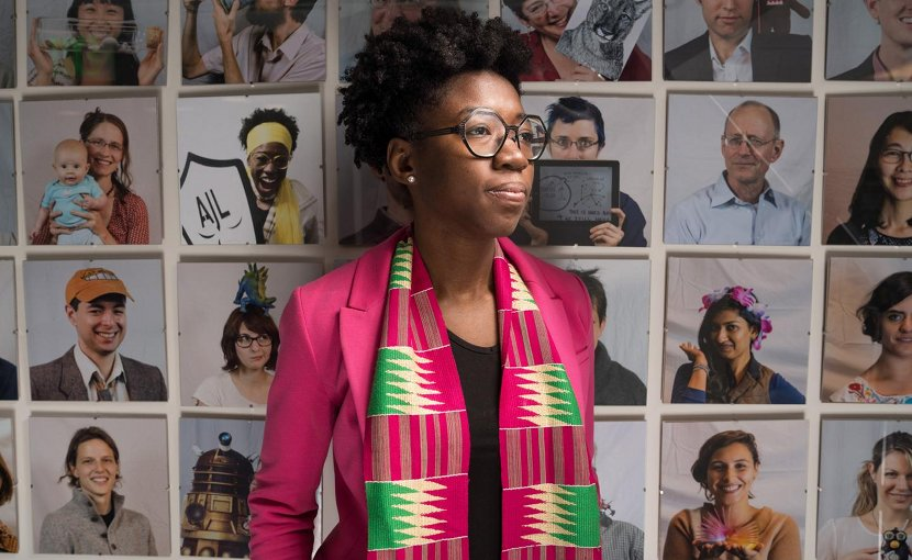This is Joy Buolamwini, a researcher in the MIT Media Lab's Civic Media group. Credit Bryce Vickmark