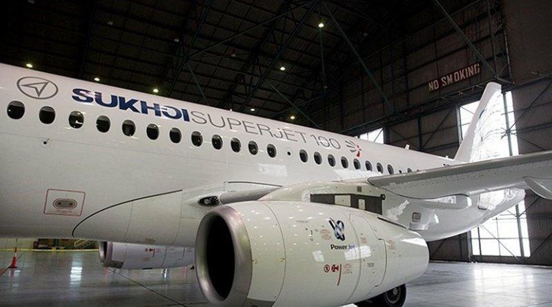 A Russian Sukhoi Superjet-100 passenger plane. Photo by Hossein Zohrevand, Tasnim News Agency.
