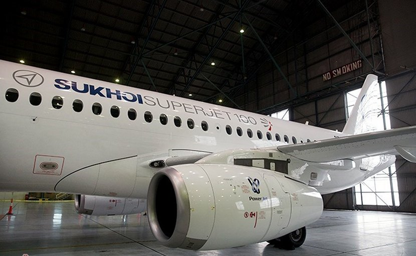 A Russian Sukhoi Superjet-100 passenger plane. Photo by Hossein Zohrevand, Tasnim News Agency.