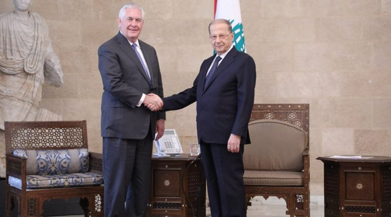 U.S. Secretary of State Rex Tillerson meets with Lebanese President Michel Aoun at the Baabda Presidential Palace in Beirut, Lebanon on February 15, 2018. [State Department photo/ Public Domain]