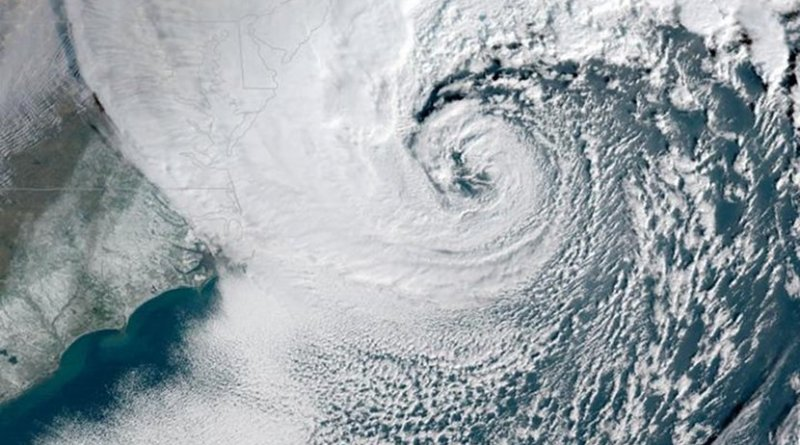 A powerful nor'easter battered the US East Coast on Jan. 4, 2018. Credit NOAA