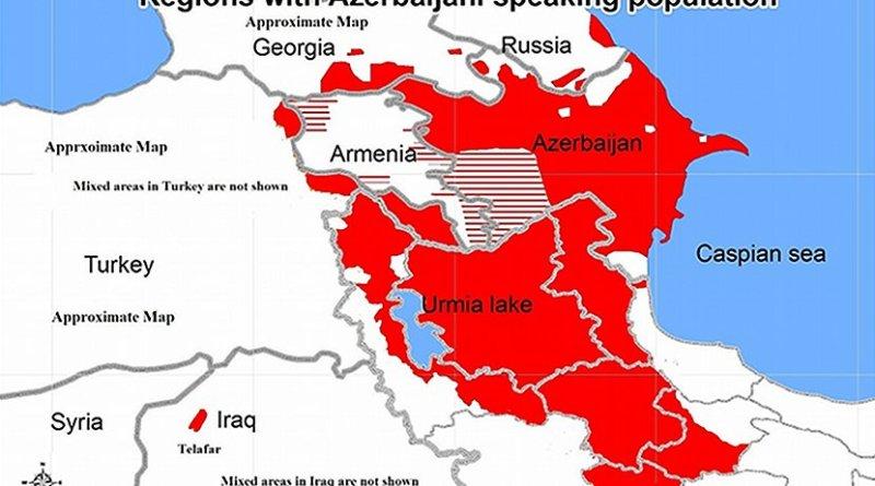 Regions with Azerbaijani speaking population. Source: Wikimedia Commons.