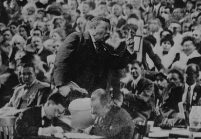 Theodore Roosevelt speaking in convention hall, Chicago. Photo Credit: Moffett Studio/ Weimer & Fabry Co., Wikimedia Commons.