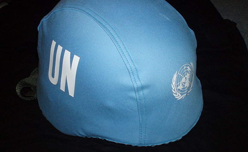 UN Blue Helmet. Photo by Daniel Košinár, Wikimedia Commons.