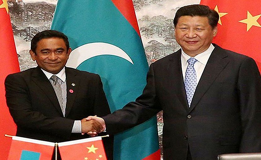 Maldives President Abdulla Yameen with Chinese President Xi Jinping. Source: FMPRC