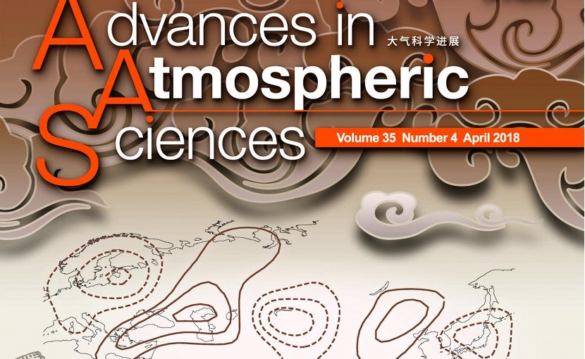 The study was selected as the cover article for Volume 35, Issue 4, April 2018, of Advances in Atmospheric Sciences. The cover features the Silk Road Pattern (contours). Credit Advances in Atmospheric Sciences