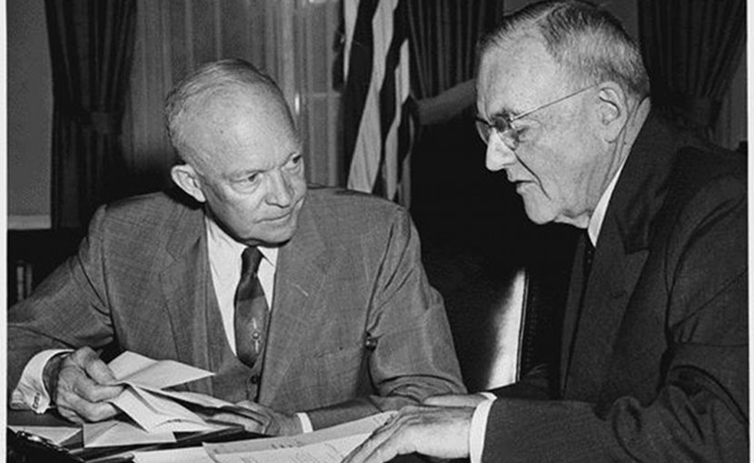 President Eisenhower and John Foster Dulles in 1956. Source: Wikimedia Commons