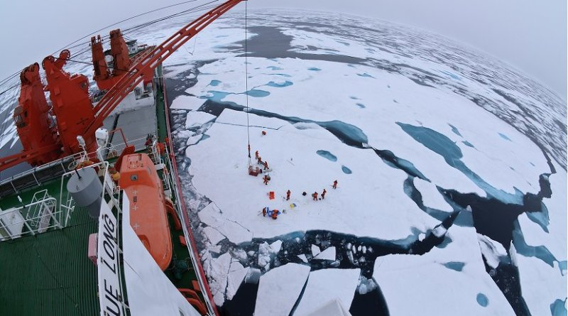 Drift ice camp in the middle of the Arctic Ocean as seen from the deck of icebreaker Xue Long. Photo by Timo Palo, Wikimedia Commons.