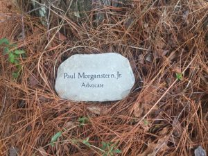 Stone marker placed at 1-Mile Hill