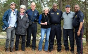L to R: Davis Mersereau, Barbara Morganstern Sammons, author Tito Craige, Nancy Muller, Deputy Head, Warren Mersereau, Sheriff Sheriff at 1-Mile Hill