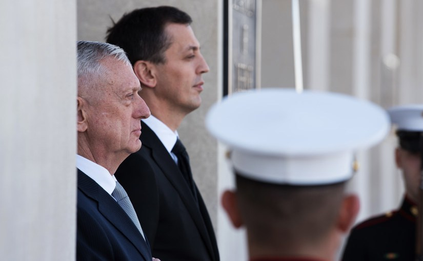 Defense Secretary James N. Mattis, left, and Defense Minister Predrag Boskovic of Montenegro stand during a welcoming ceremony before their meeting at the Pentagon, Feb. 27, 2018. DoD photo by Army Sgt. Amber I. Smith