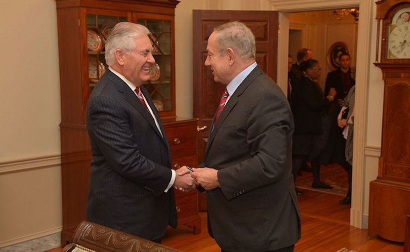 U.S. Secretary of State Rex Tillerson (here shaking hands with Israeli Prime Minister Benjamin Netanyahu before their working dinner at the U.S. Department of State in Washington, D.C., on February 14, 2017. State Department photo/ Public Domain