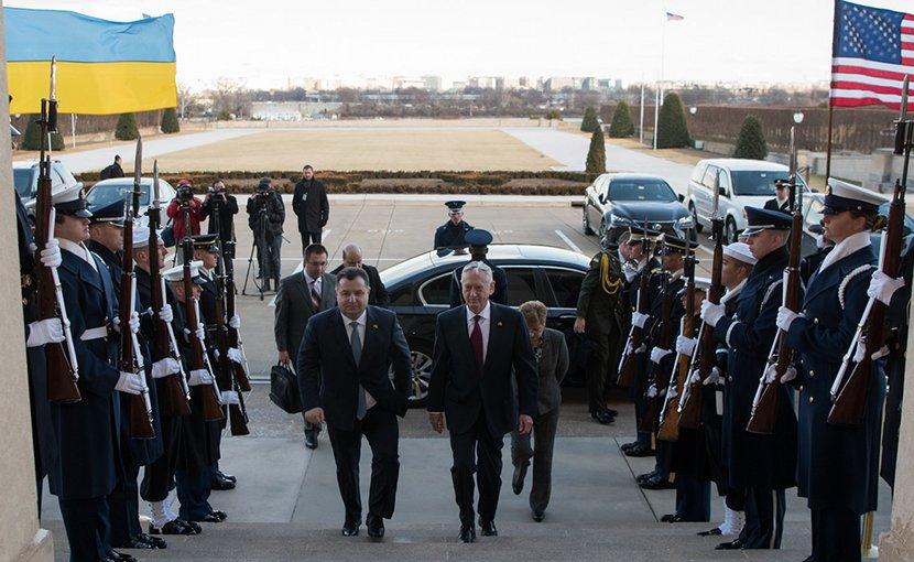 Secretary of Defense James N. Mattis meets with Ukraine's Defense Minister Stepan Poltorak at the Pentagon in Washington, D.C., Feb. 2, 2018. (DoD photo by U.S. Army Sgt. Amber I. Smith)