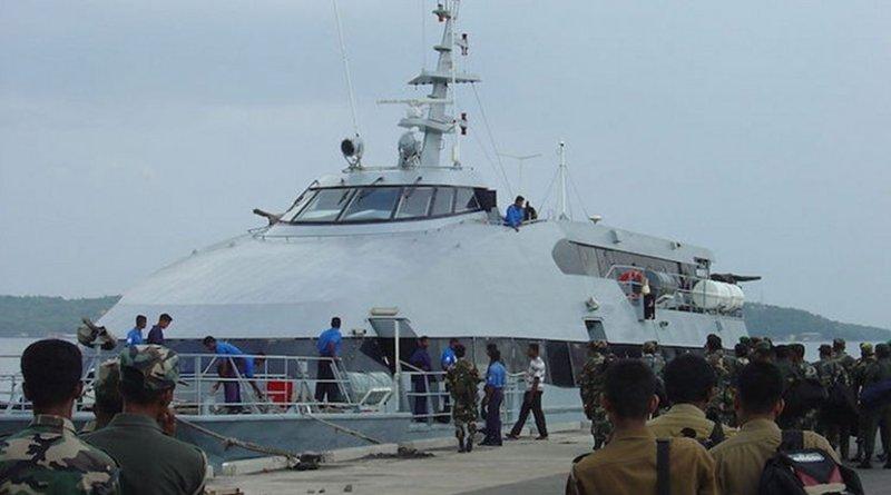 Sri Lanka troop transport catamaran in strategically located deep-water Trinconalee harbor. Credit: Wikimedia Commons.