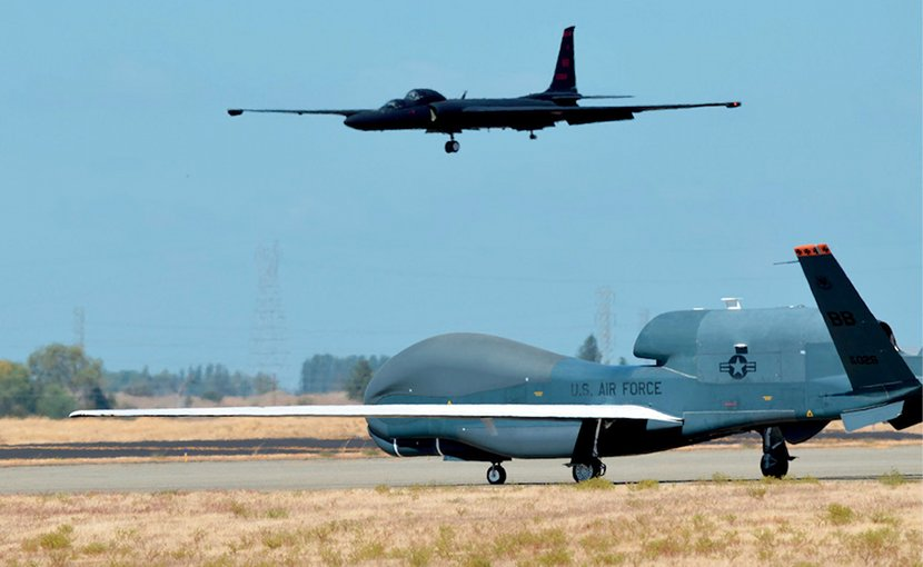 RQ-4 Global Hawk and U-2 Dragon Lady are Air Force's primary high-altitude ISR aircraft, Beale Air Force Base, California. Photo Credit: US Air Force/Bobby Cummings