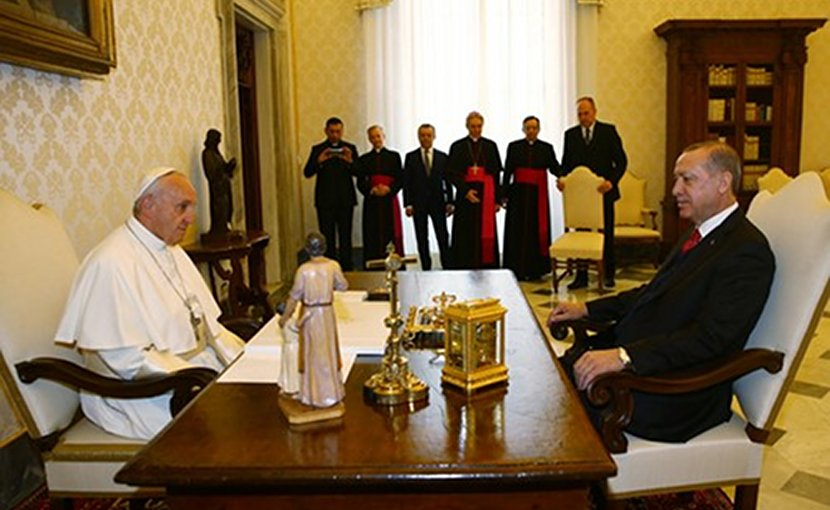 Turkey's President Recep Tayyip Erdoğan with Pope Francis at the Vatican. Photo Credit: Turkey President's Office.